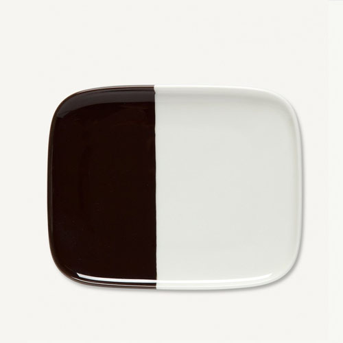 Bord Puolikas Plate White Brown