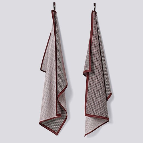 HAY Grid Tea Towel Bordeaux (set 2)