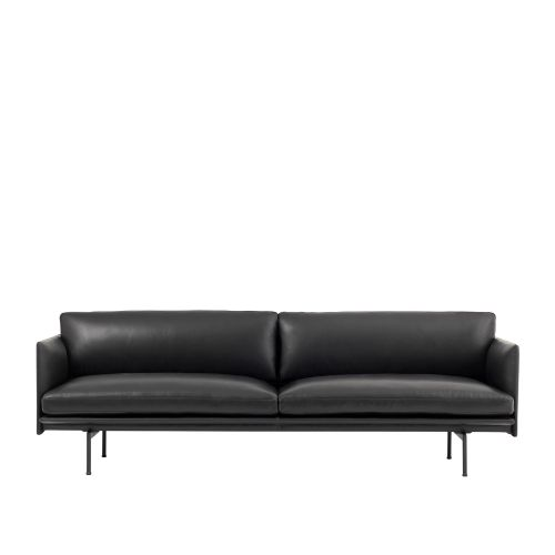 Muuto Outline Sofa 3 seater Refine Leather Black - Black Base