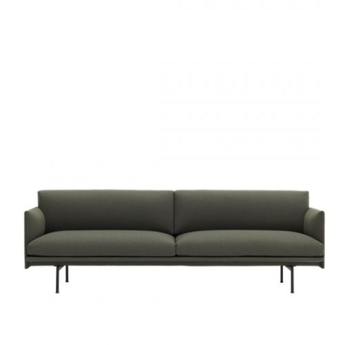 Muuto Outline Sofa 3 seater Fiord 961 - Black Base