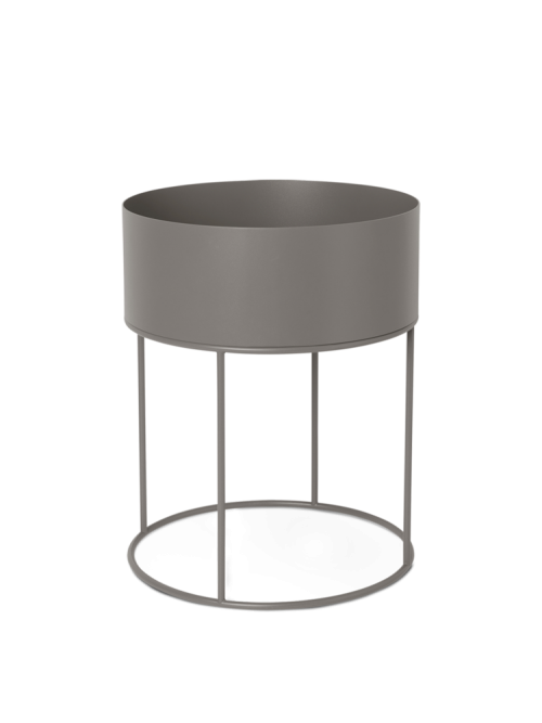 Plant box round warm grey