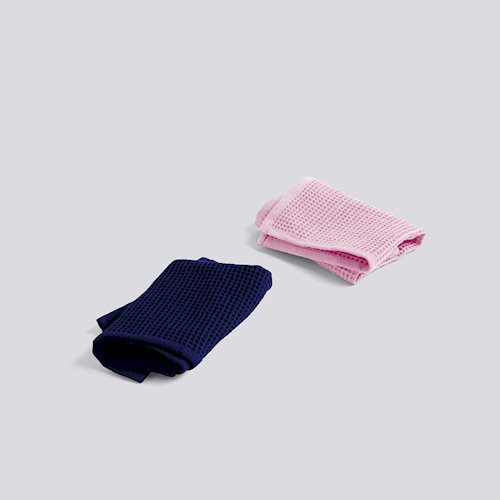 Hay Waffle Dish Cloth cool rose/ midnight blue set2