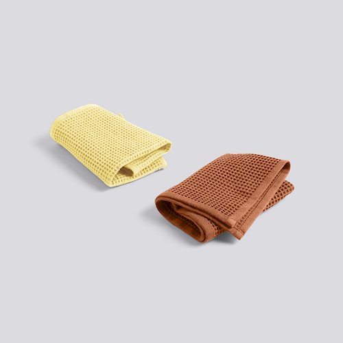 Hay Waffle Dish Cloth Terracotta/Yellow set2