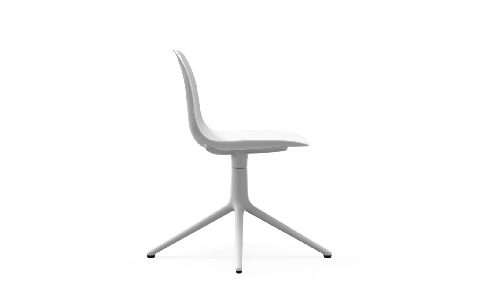 Normann CPH Form Chair Swivel 4L White Alu gestoffeerd