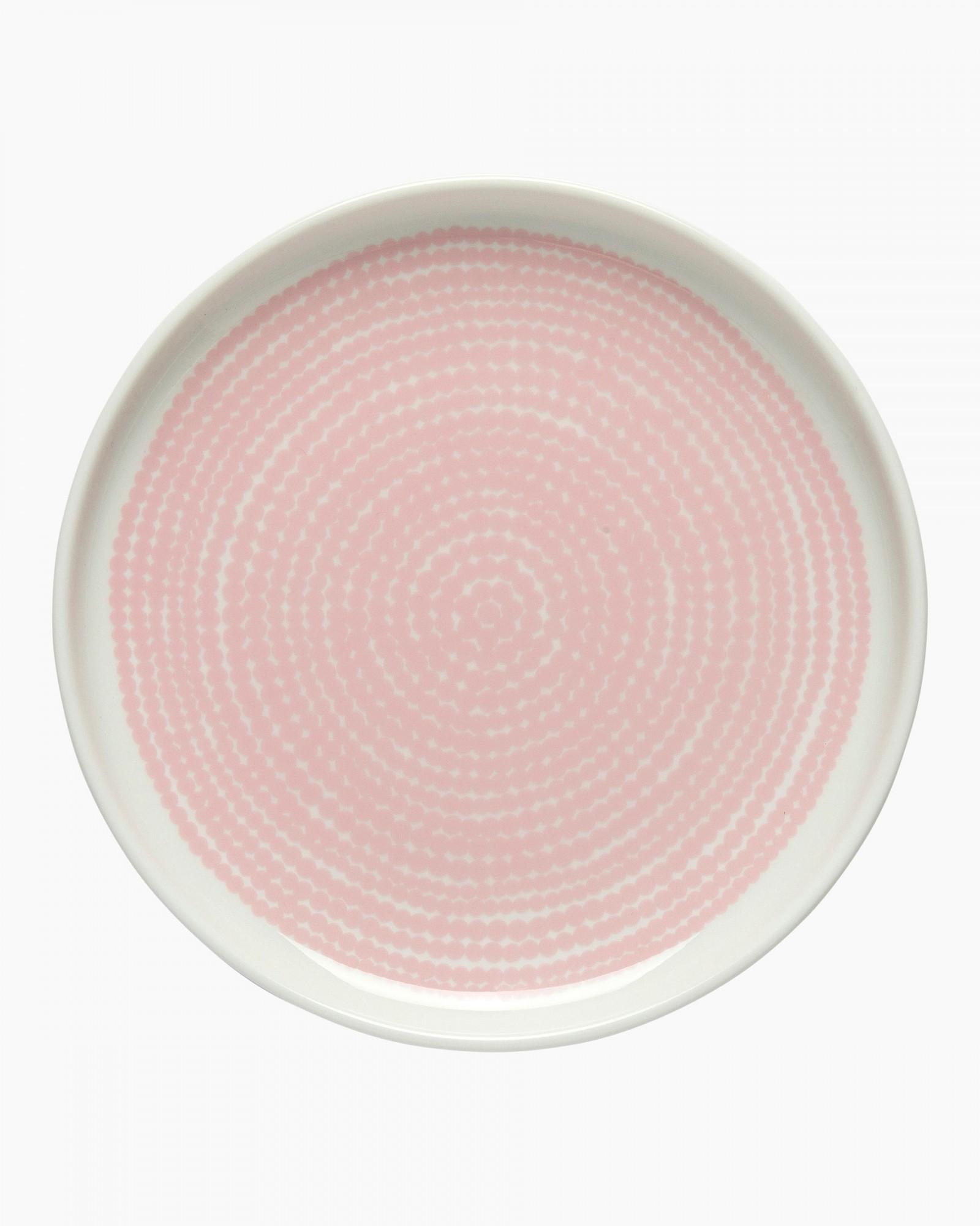 Räsymatto plate 13,5cm white/pink