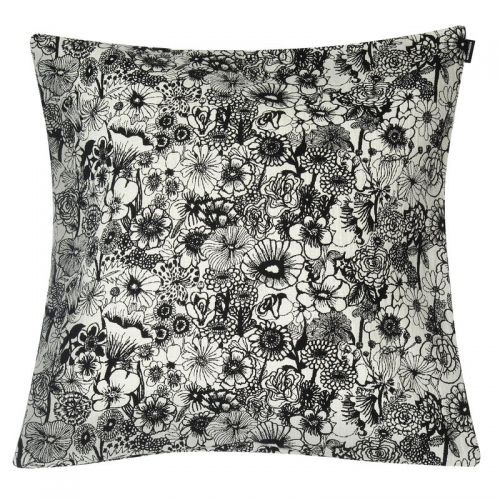 Marimekko Seppelekukat cushion cover 50x50 ecru black