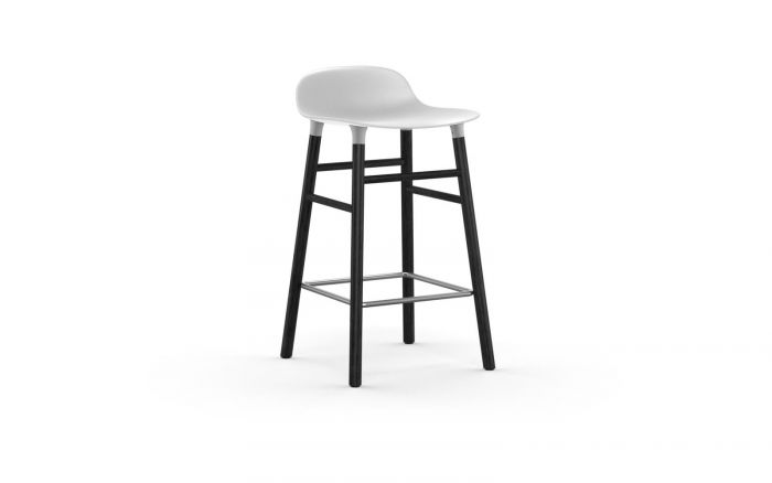 Normann CPH Form Bar Stool 65cm Wood Black gestoffeerd