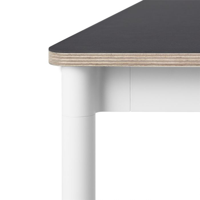 Muuto Base tafel 190x85 Black Linoleum/Plywood/White