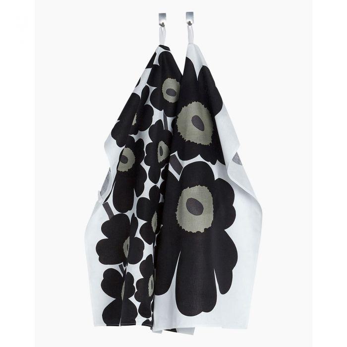 Unikko tea towel 2 pcs white/black