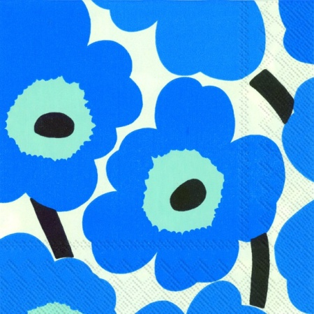 Unikko blue/linen lunch napkin