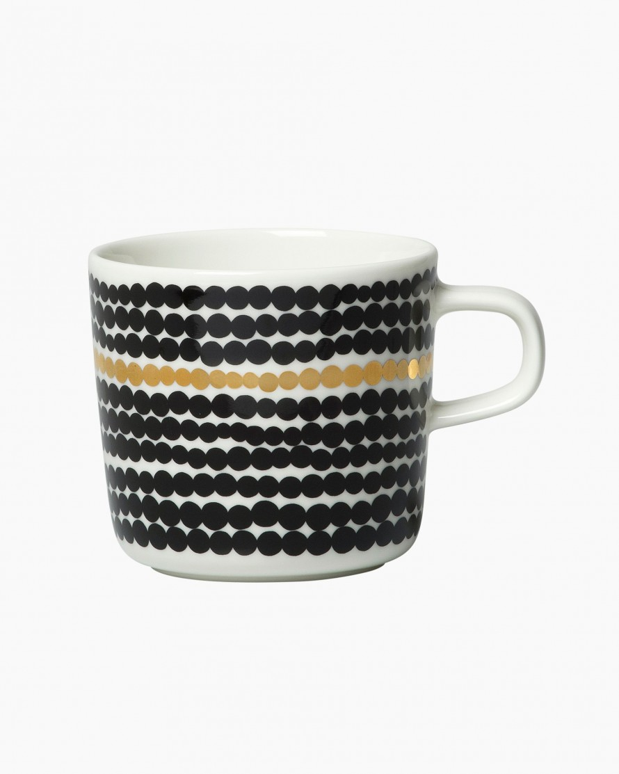 Oiva Anniversary coffee cup 2 dl b/w gold