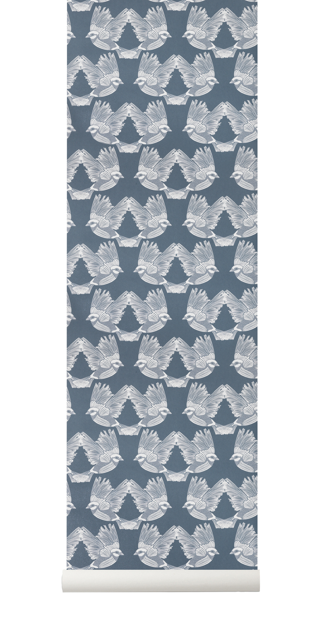 Ferm Living Behang Birds Dark Green/Off-white
