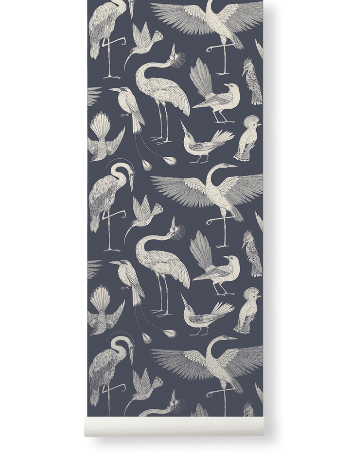 Ferm Living Behang Katie Scott Birds Dark Blue