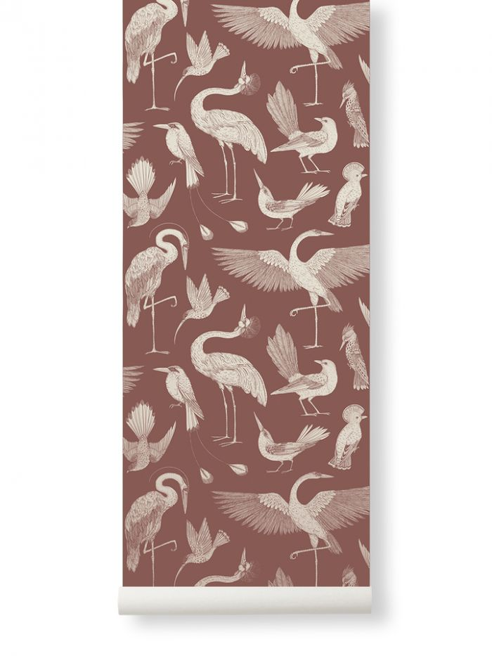 Ferm Living Behang Katie Scott Birds Dusty Red