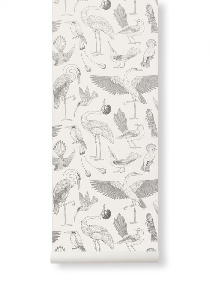 Ferm Living Behang Katie Scott Birds Off-white