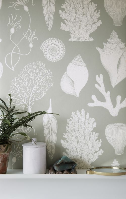 Ferm Living Behang Katie Scott Shells Aqua
