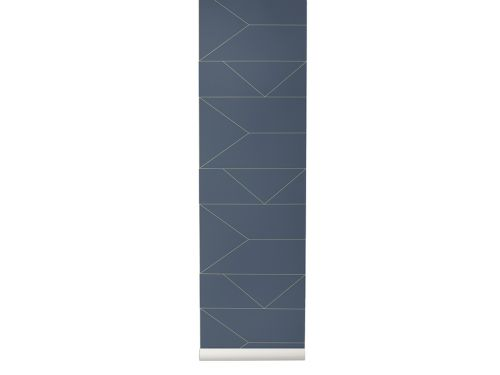 Ferm Living Behang Lines Dark Blue