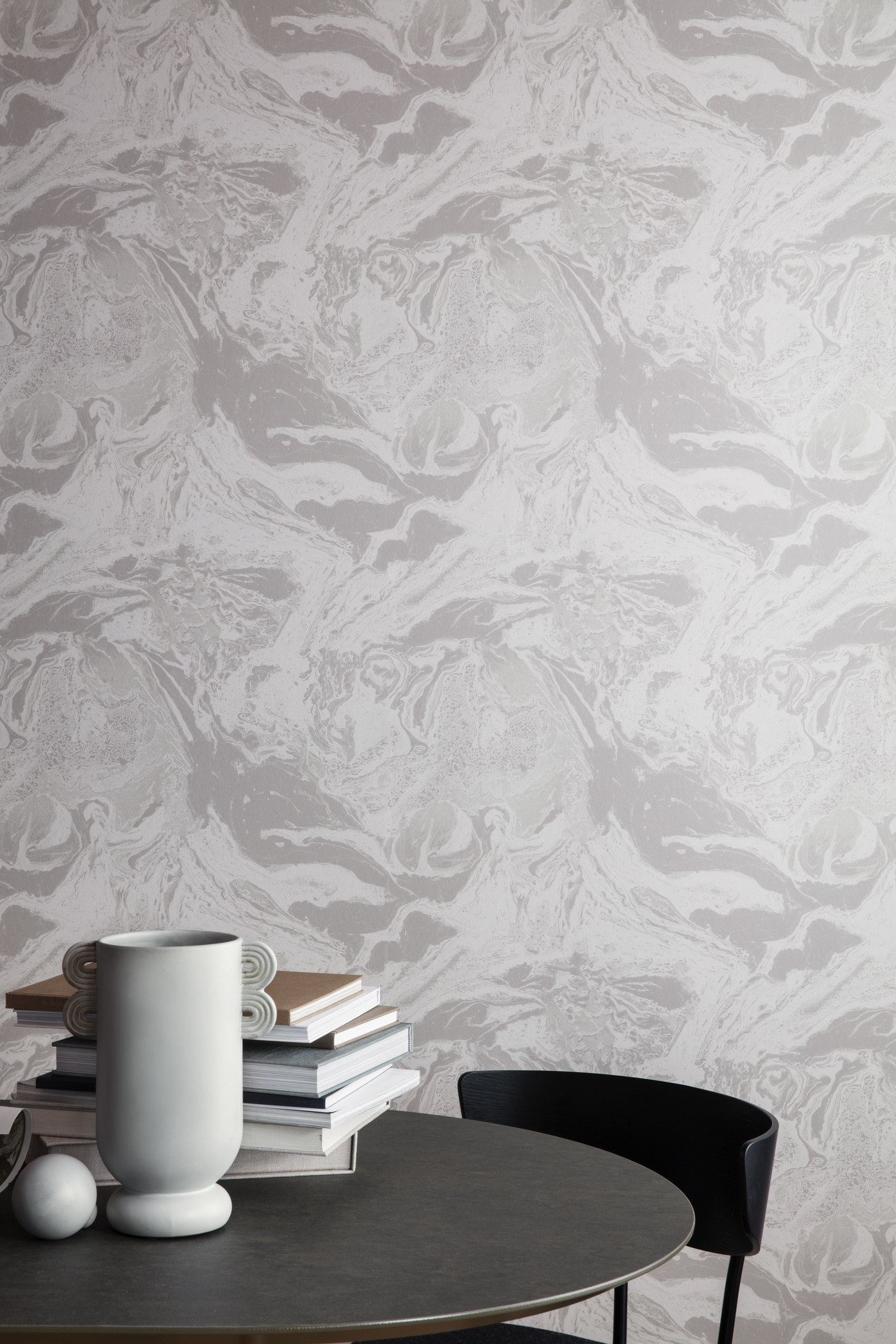 Ferm Living Behang Marbling Charcoal