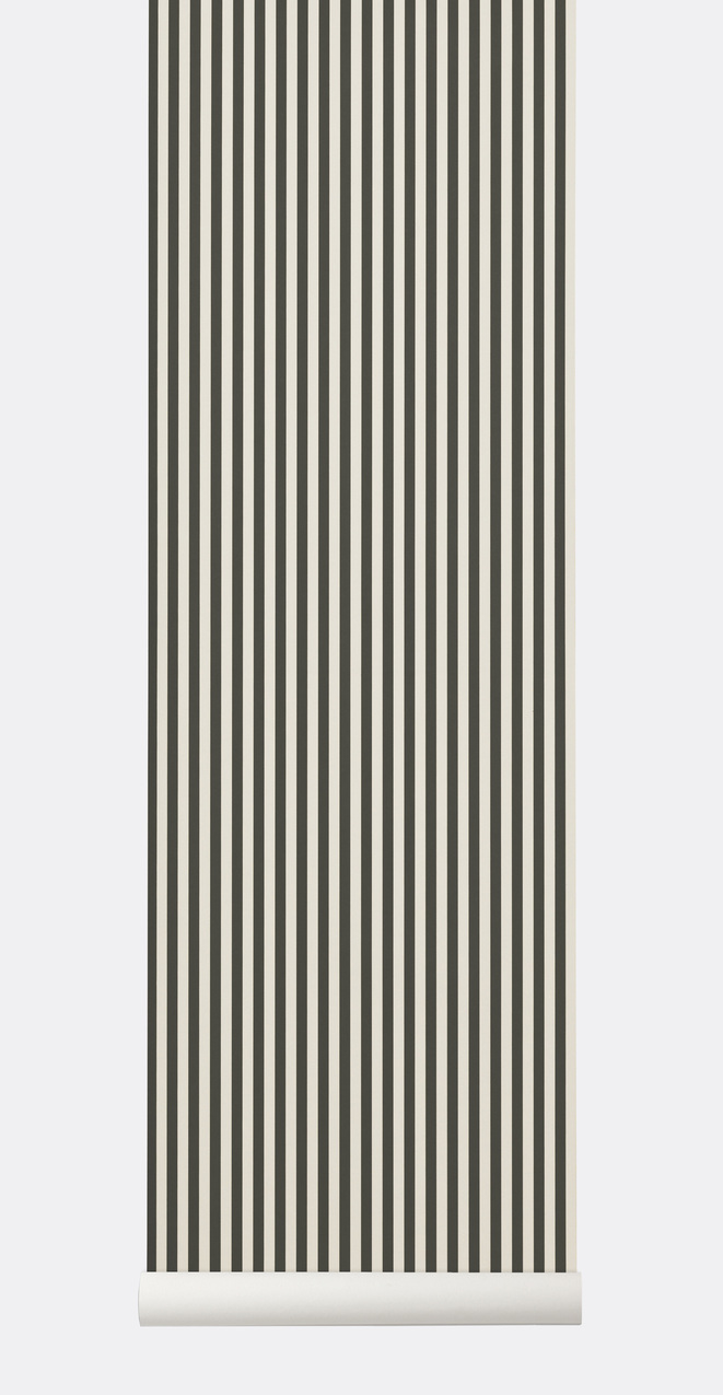 Ferm Living Behang Thin Lines Green/Off-white