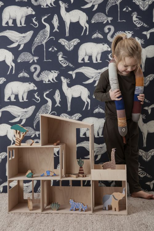 Ferm Living behang Katie Scott Animals Dark Blue