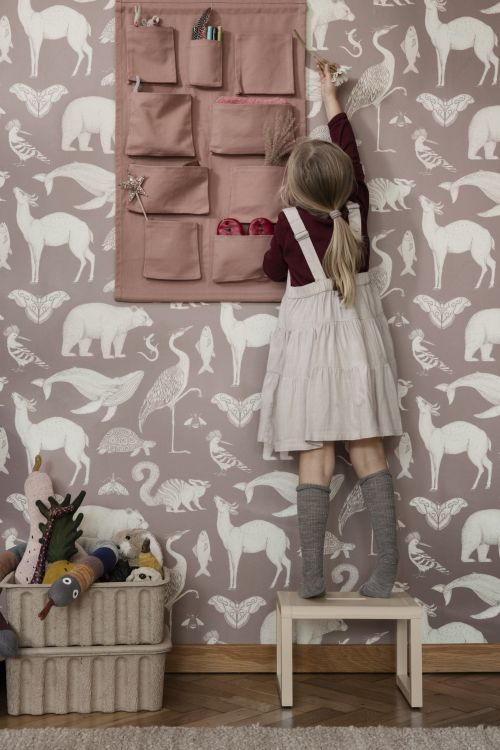 Ferm Living behang Katie Scott Animals Dusty Rose