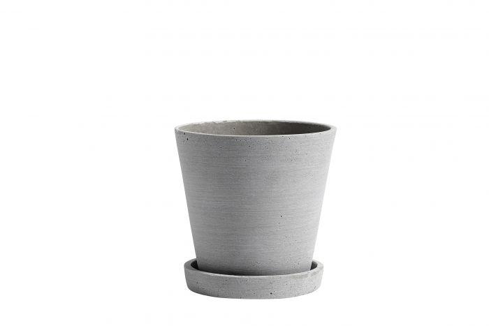 Flowerpot with saucer M grey