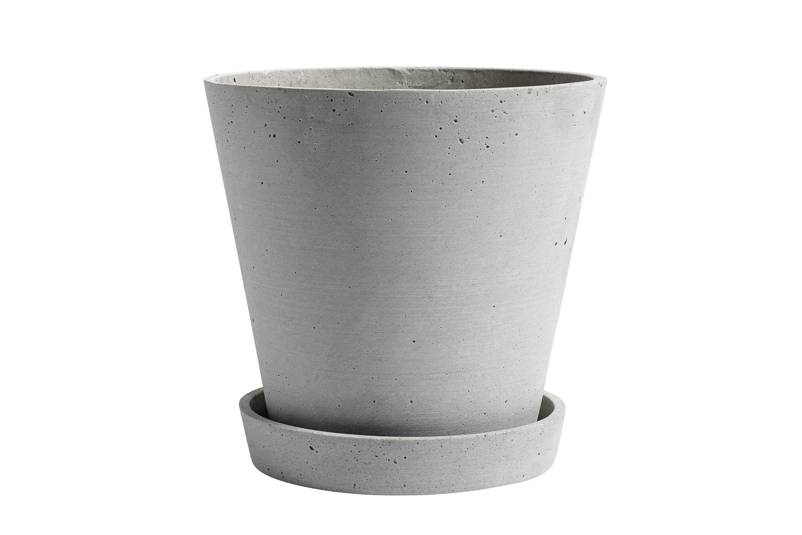 Flowerpot with saucer XL grey