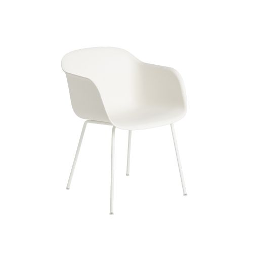 Muuto Fiber Armchair Tube Base Natural White/White