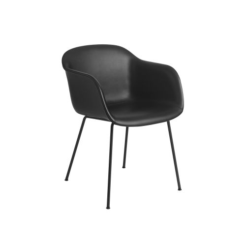 Muuto Fiber Armchair Tube base Refine Leather Black/Black