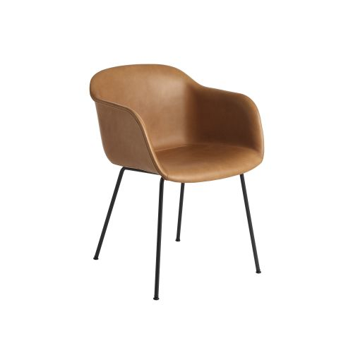 Muuto Fiber Armchair Tube base Refine Leather Cognac/Black