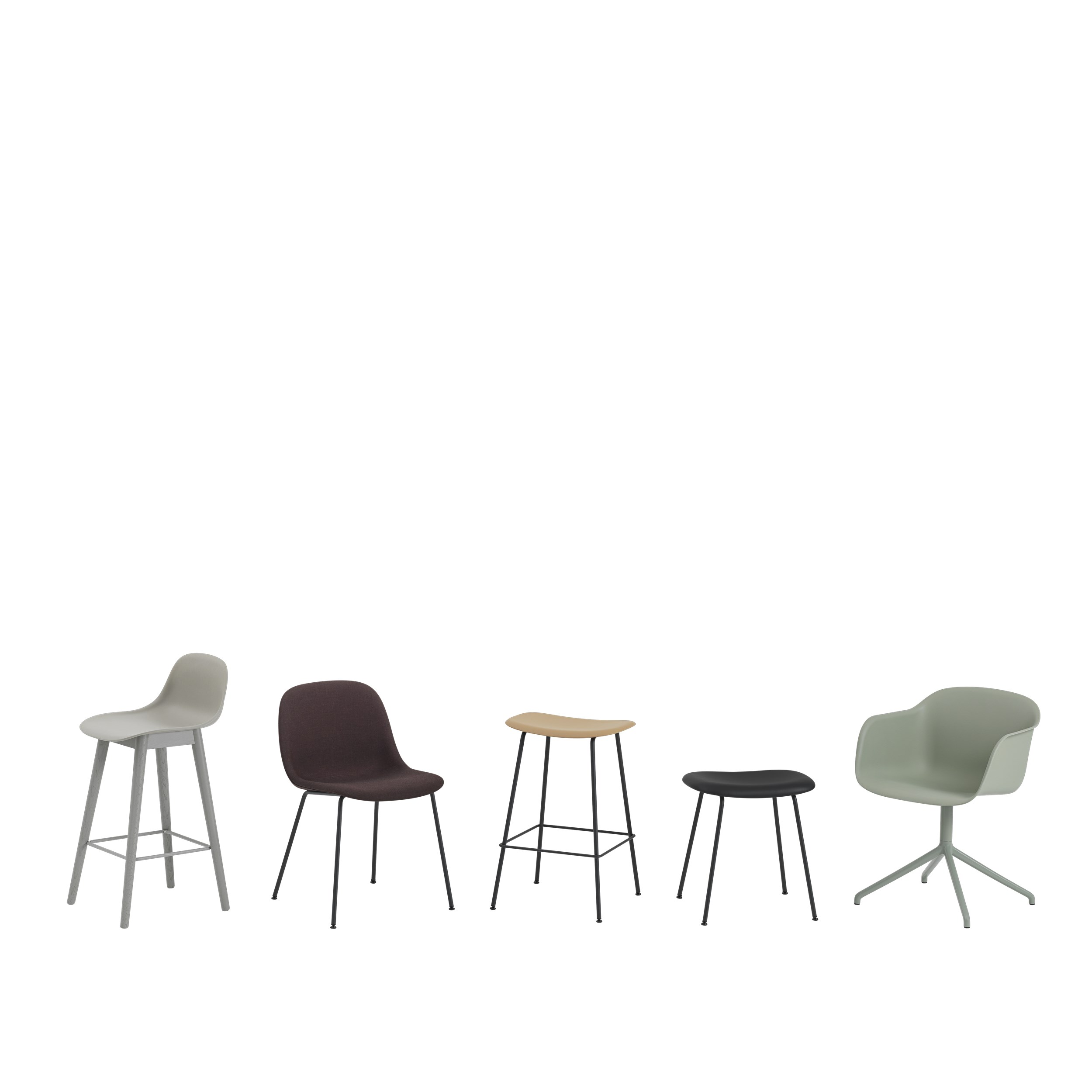 Muuto Fiber Side Chair Wood Base Dusty Green/Dusty Green