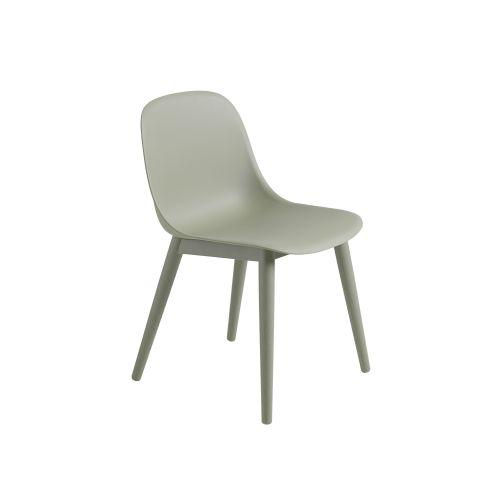 Muuto Fiber Side Chair Wood Base Dusty Green/Dusty Green