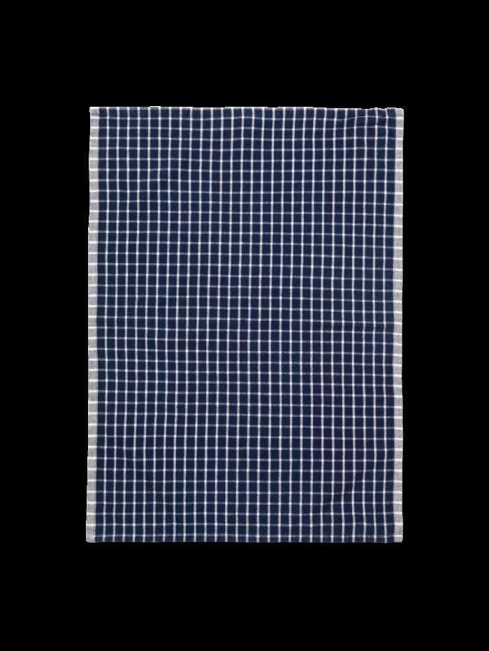Hale yarn dyed linen tea towel blue