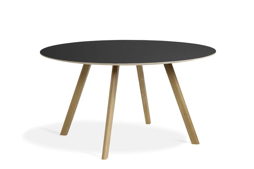 Hay CPH25 Table Round 140 Black Linoleum/Clear