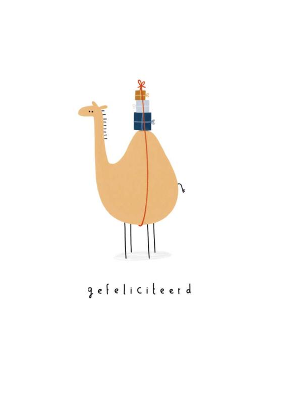 Gevouwen kaart - Gefeliciteerd kameel