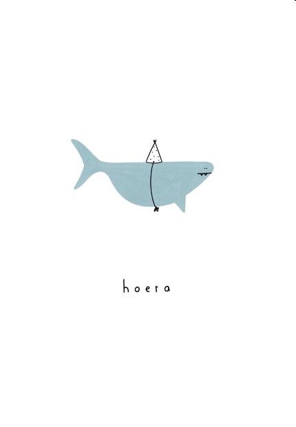 Gevouwen kaart - Hoera haai