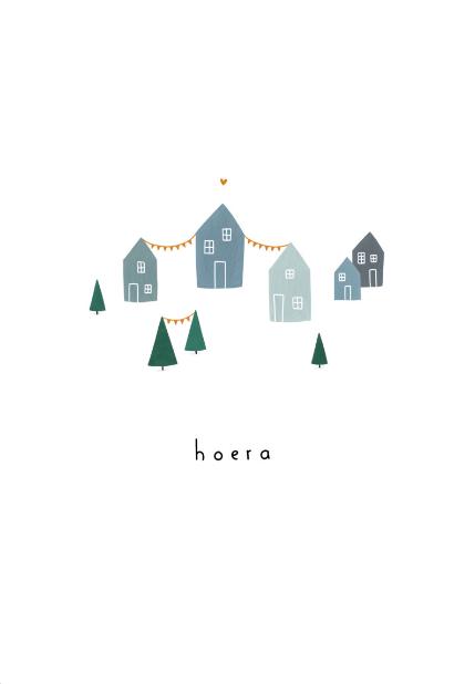 Gevouwen kaart - Hoera huisjes