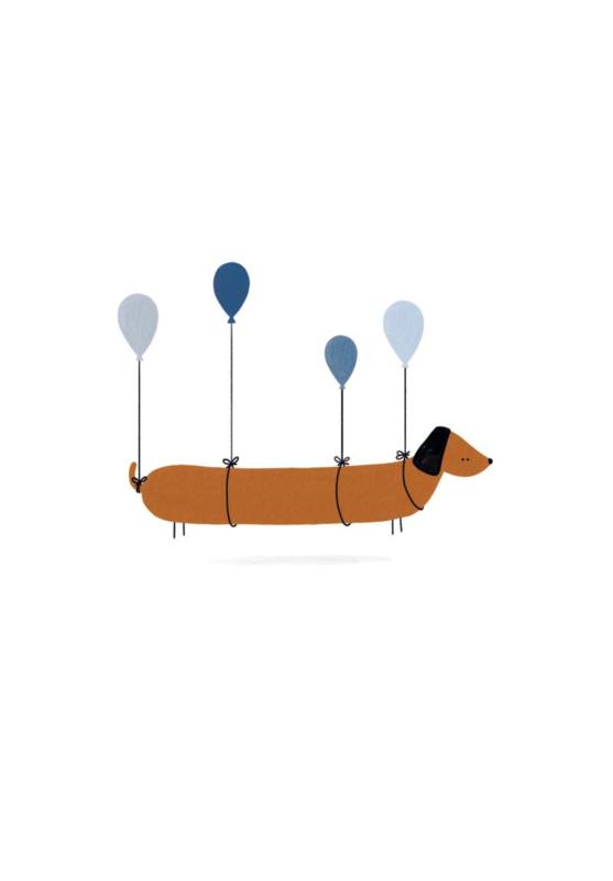 Gevouwen kaart - Teckel ballonnen