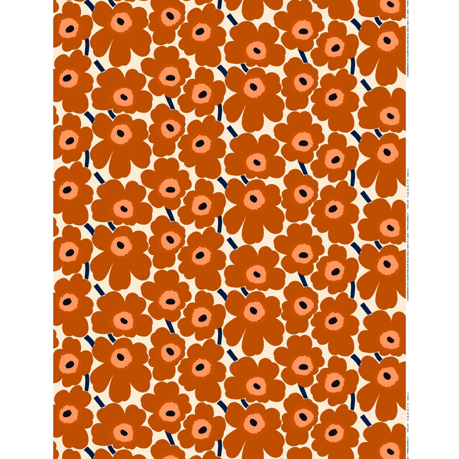 Marimekko Mini Unikko Cotton Fabric Brown Beige