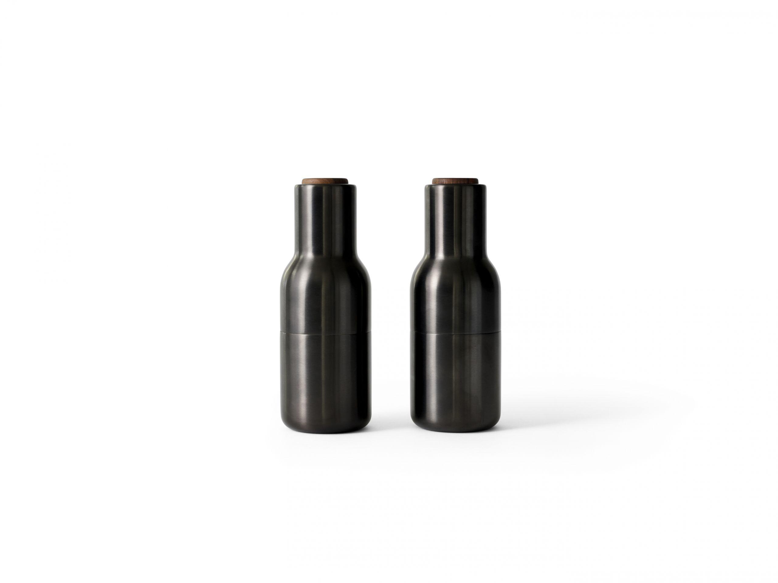 Menu Bottle Grinder Walnut Lid Bronzed Brass 2-pack