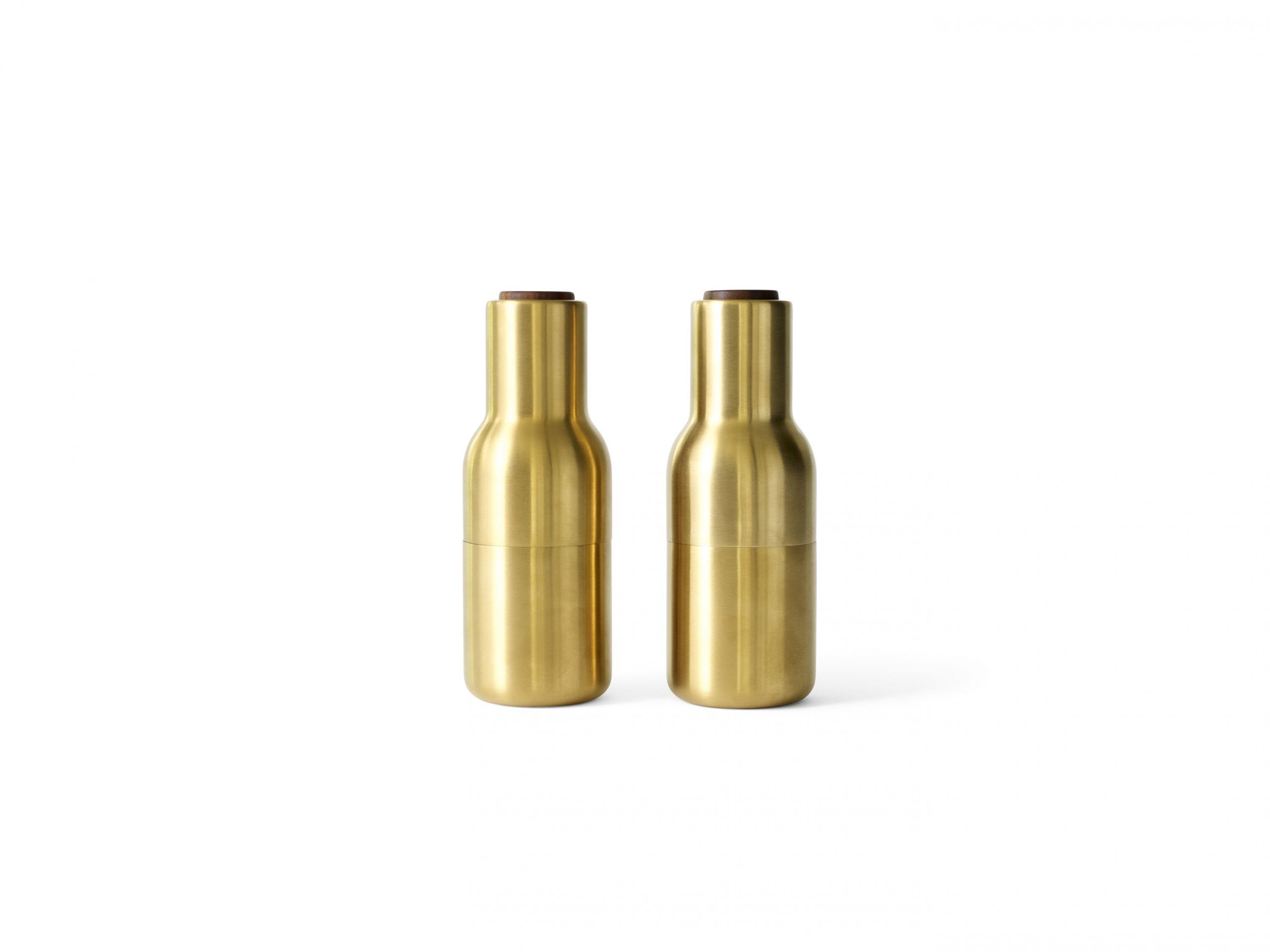 Menu Bottle Grinder Walnut Lid Brushed Brass 2-pack