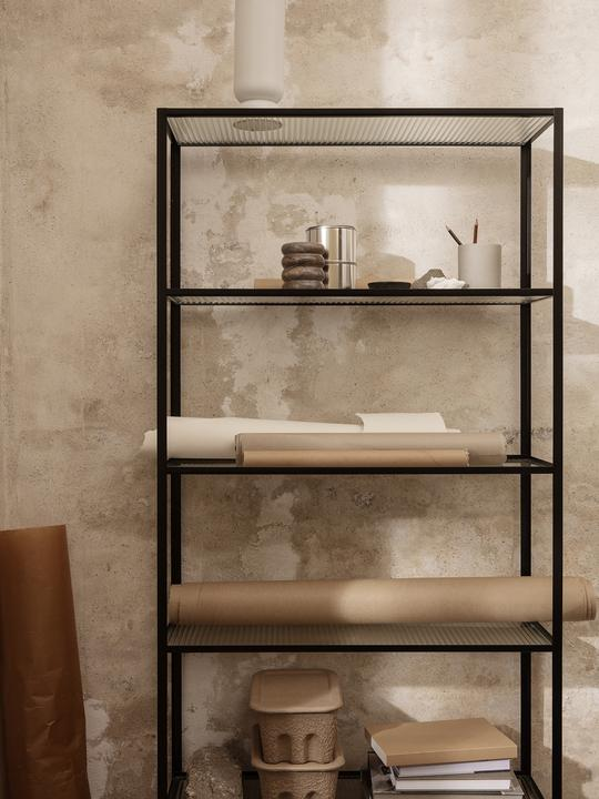 Ferm Living Haze Bookcase Reeded glass Black