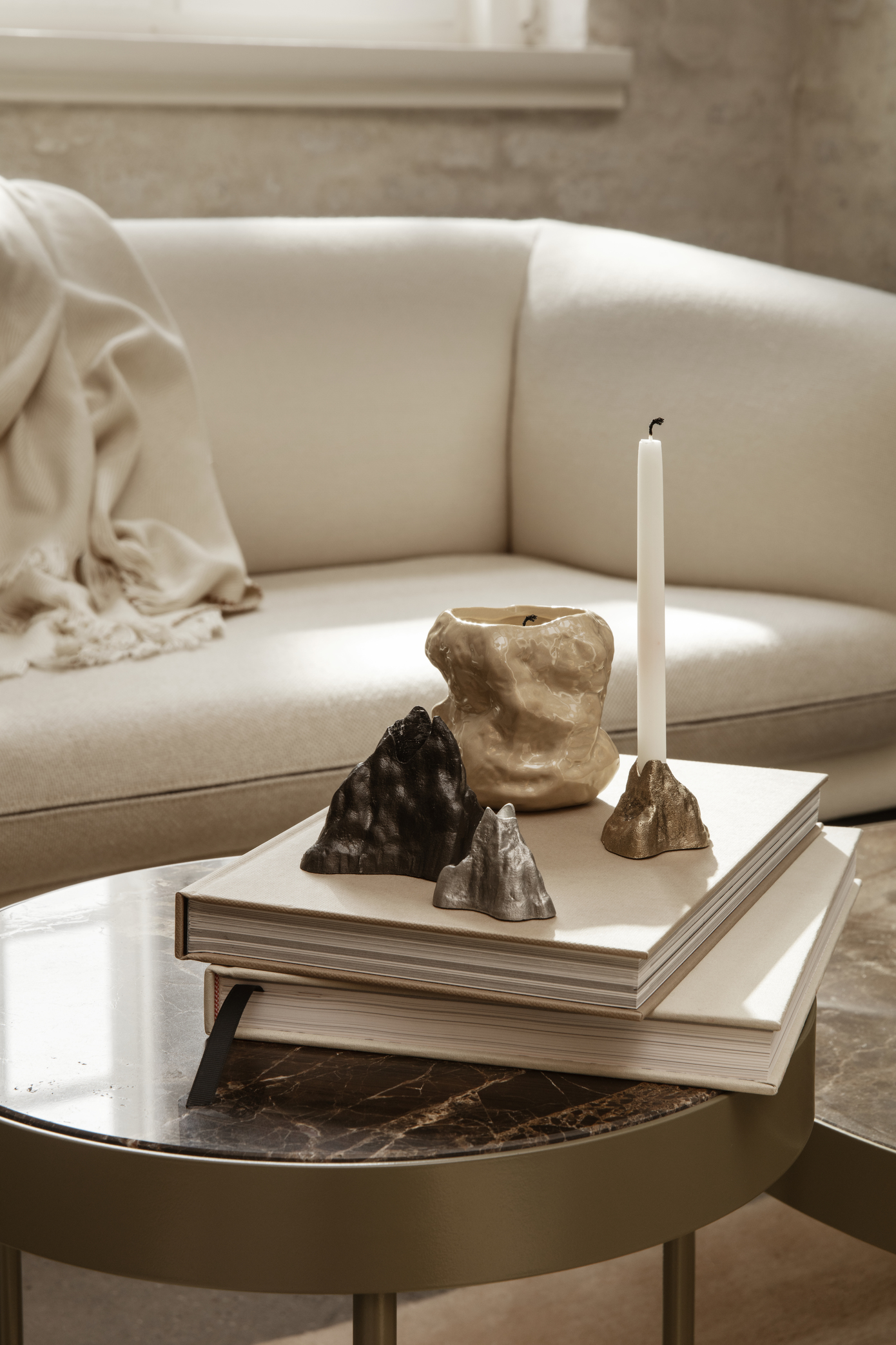 Ferm Living Stone Candle Holder Large Brass
