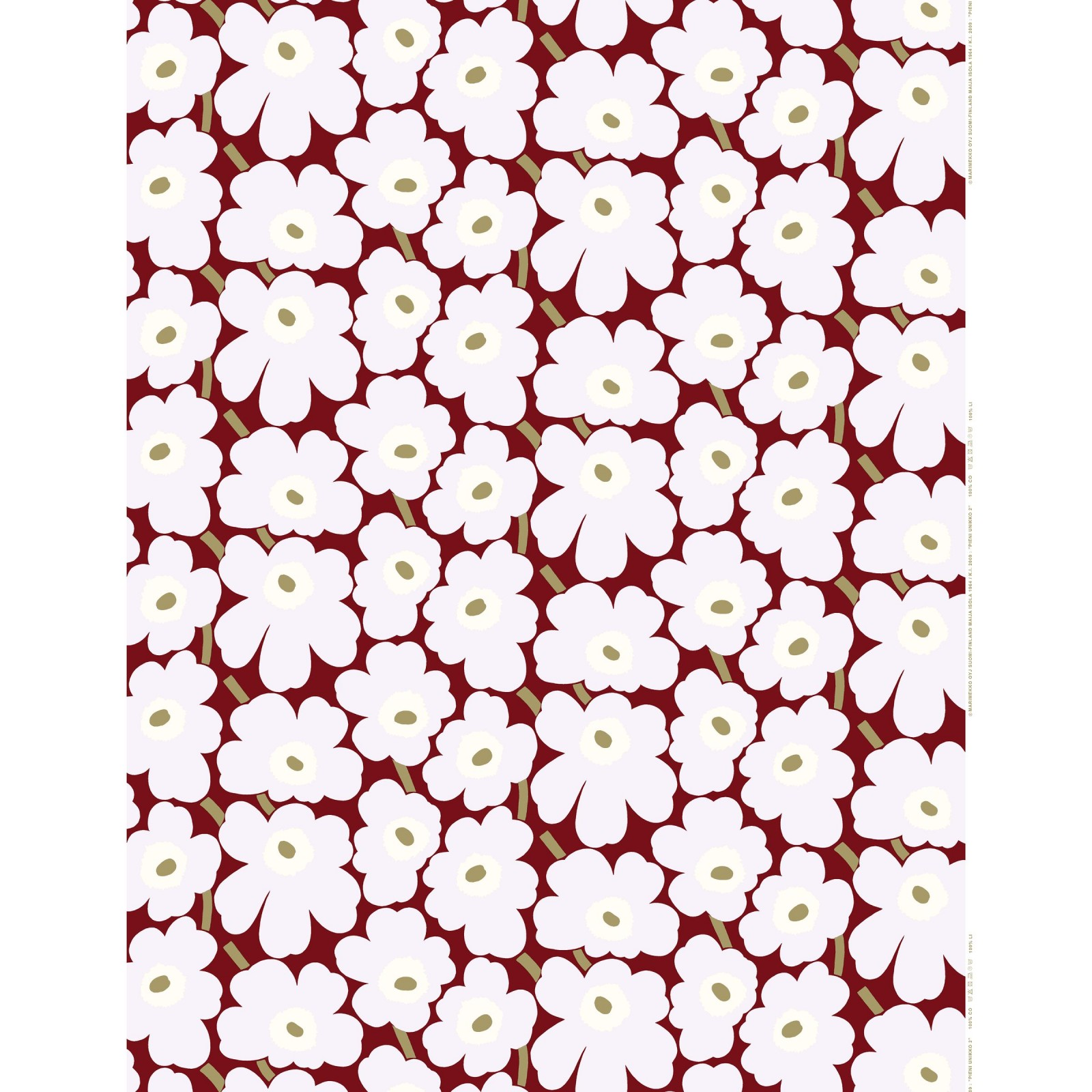 Marimekko Pieni Unikko Cotton per meter Red/Yellow Dot