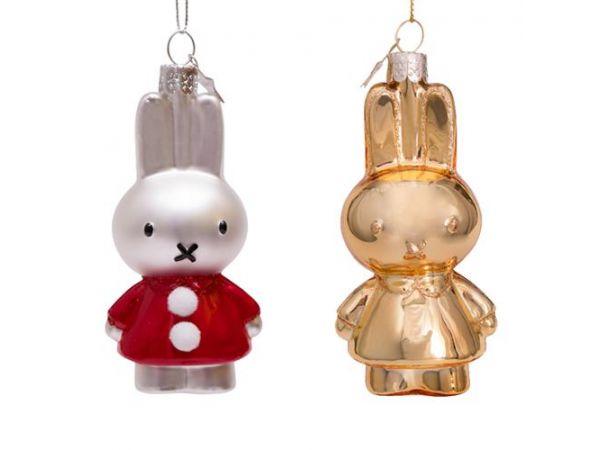 Kerstbal set Nijntje goud en rood kerstjurkje