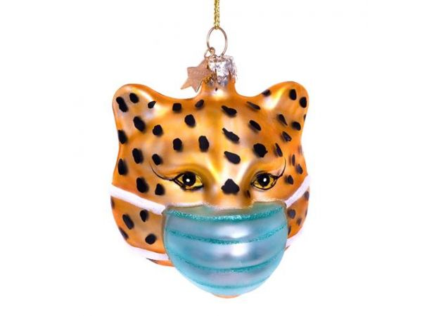 Kerst panther w/face mask H7.5cm