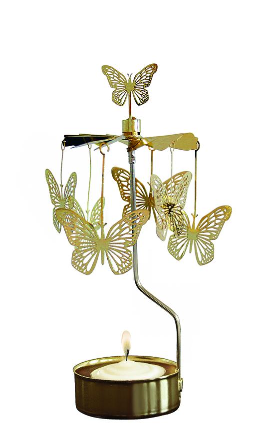 Waxinehouder butterfly gold