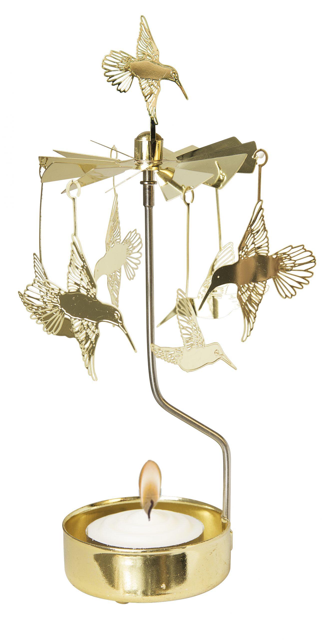 Waxinehouder hummingbird gold
